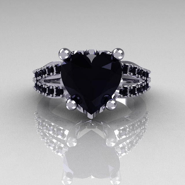 Modern French Bridal 18K White Gold 30 Carat Heart Black