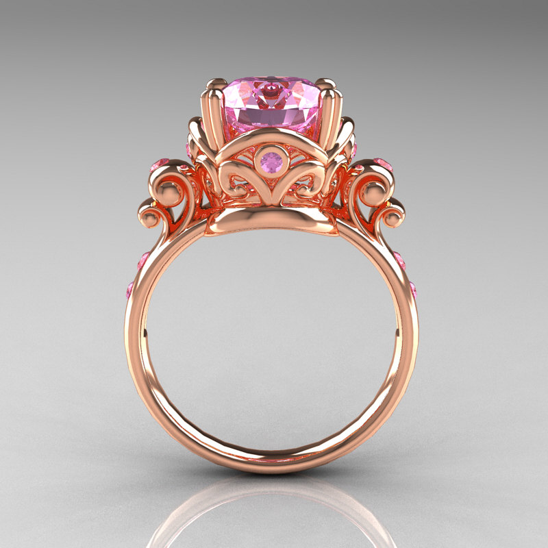 Modern Vintage 10K Rose Gold 25 Ct Light Pink Sapphire