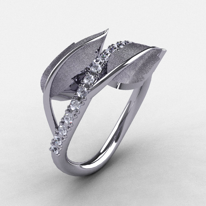 Natures Nouveau 14K White Gold White Sapphire Leaf And