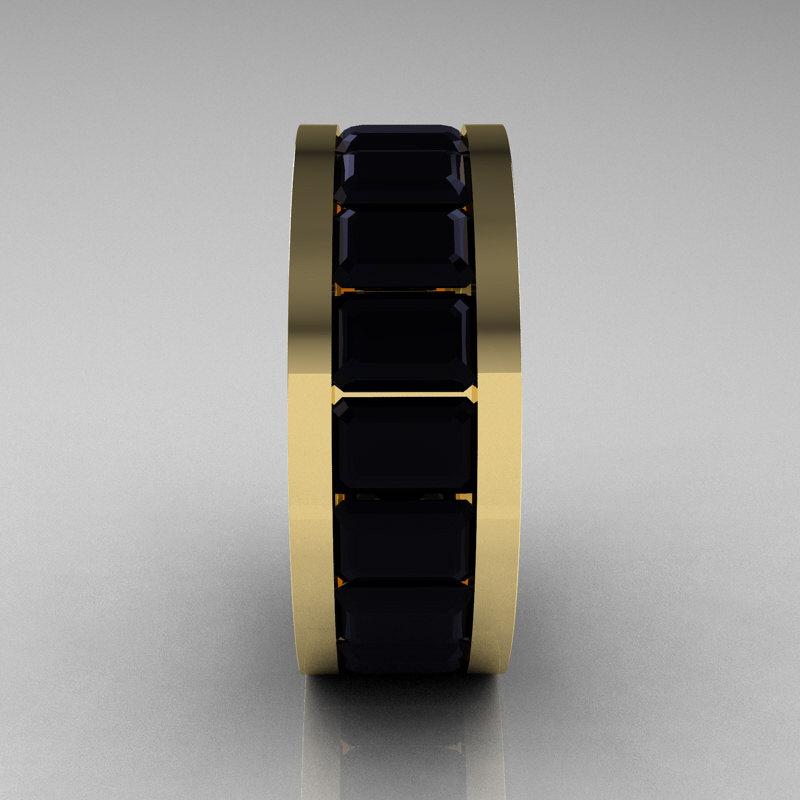 Mens Modern 14K Yellow Gold Black Diamond Channel Cluster