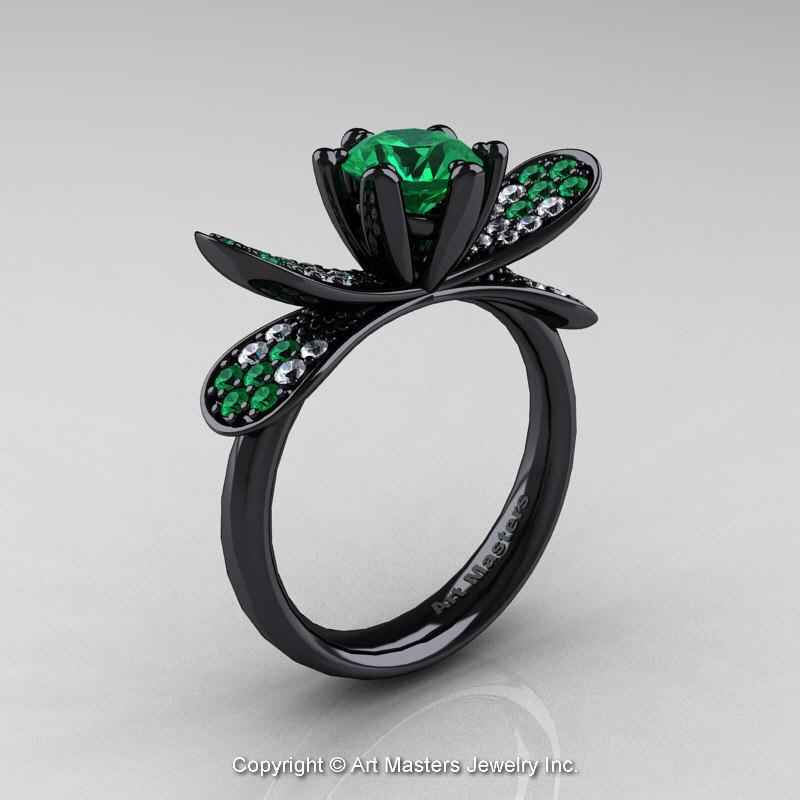 14K Black Gold 10 Ct Emerald Diamond Nature Inspired