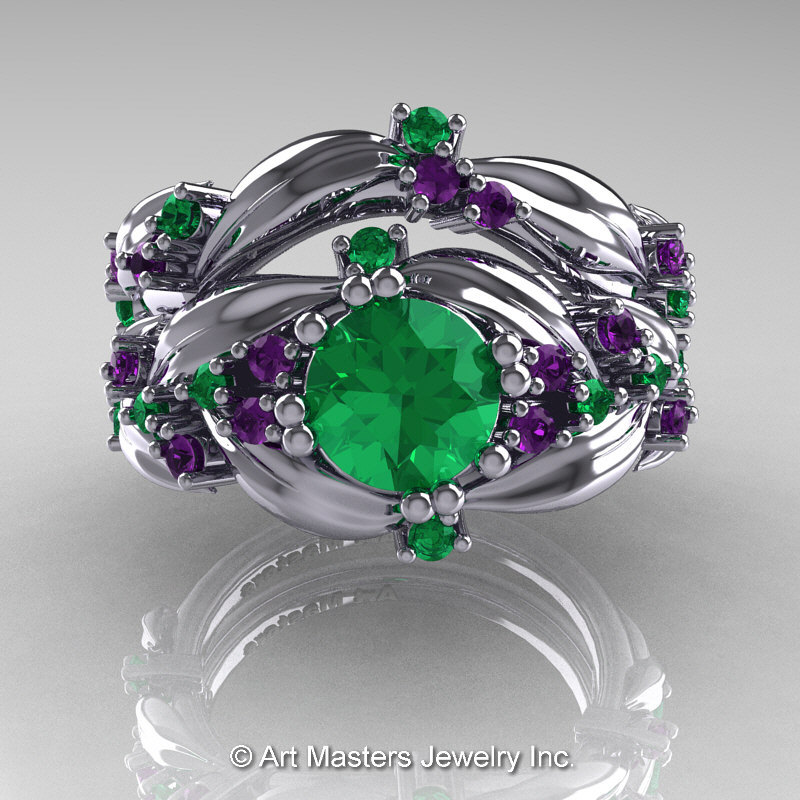 Nature Classic 14K White Gold 10 Ct Emerald Amethyst Leaf
