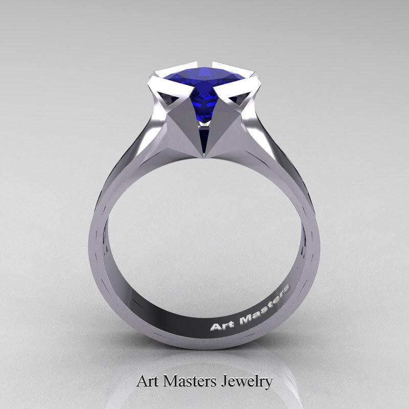 Neomodern 14K White Gold 15 CT Princess Blue Sapphire