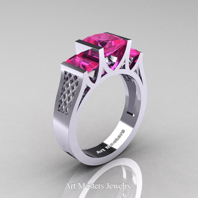 Modern 14K White Gold 15 Carat Princess Pink Sapphire