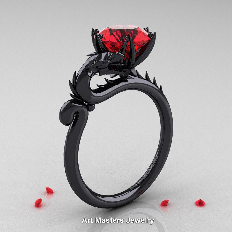 Art Masters 14K Black Gold 30 Ct Ruby Dragon Engagement