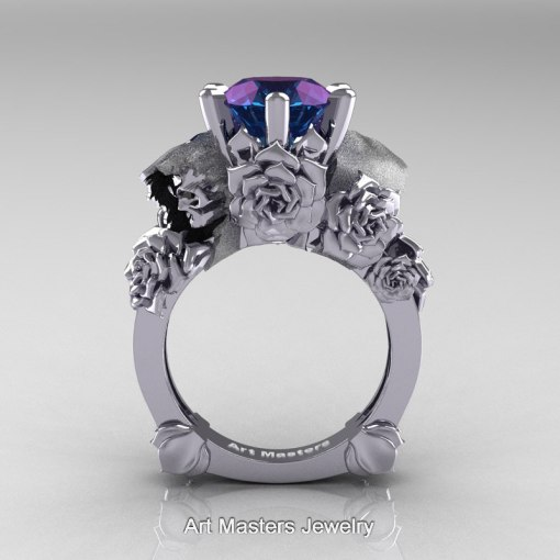Love and Sorrow 14K White Gold 3 0 Ct Laser Alexandrite Skull and     Love and Sorrow 14K White Gold 3 0