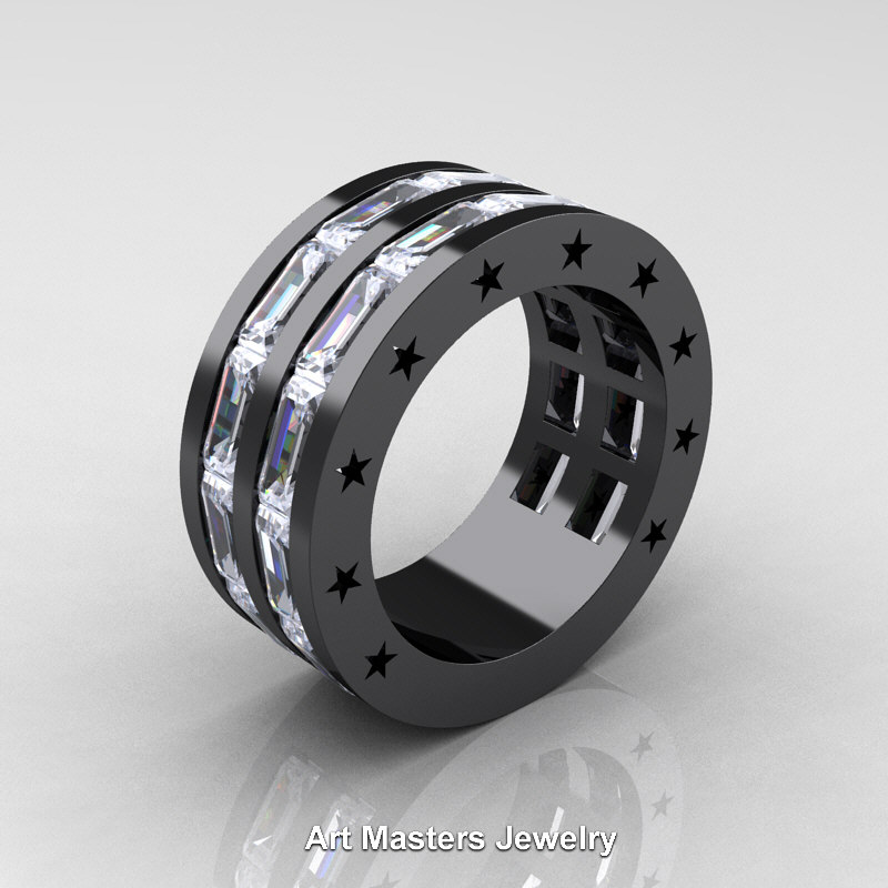 Mens Modern 14K Black Gold Baguette White Sapphire Channel