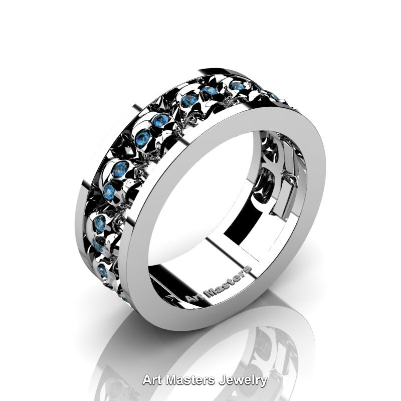 Gold Black Wedding Mens Rings And White