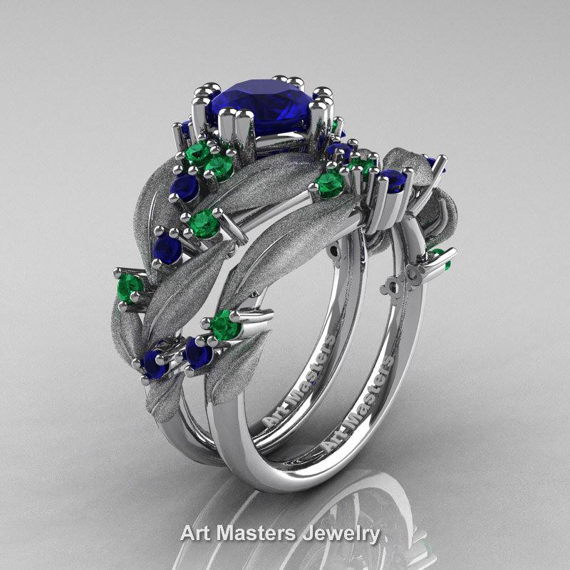 Nature Classic 14K White Gold 10 Ct Blue Sapphire Emerald