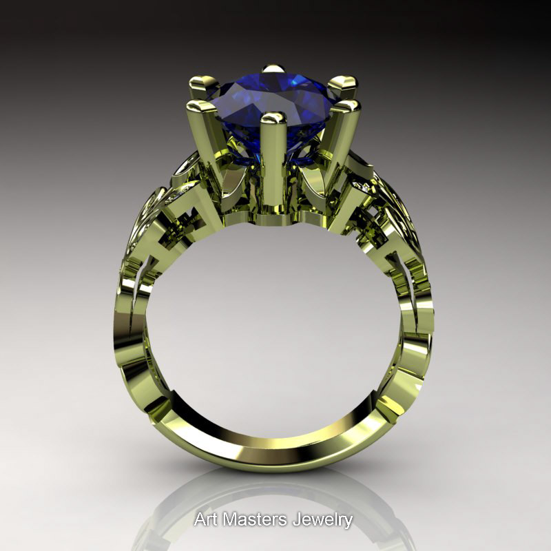Nature Inspired 14K Green Gold 30 Ct Blue Sapphire