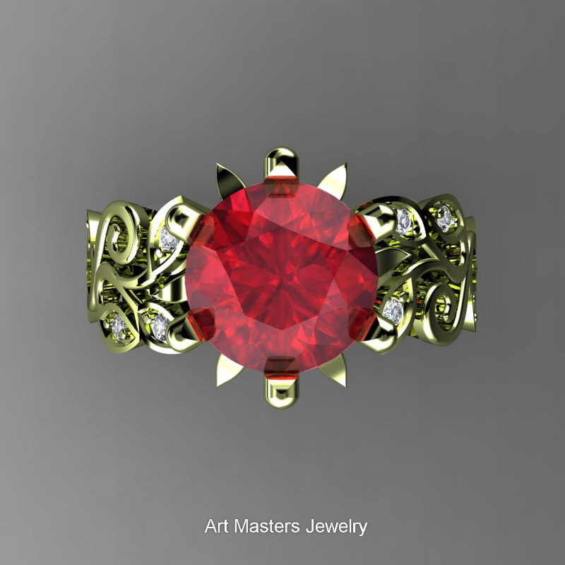 Nature Inspired 14K Green Gold 30 Ct Ruby Diamond Leaf