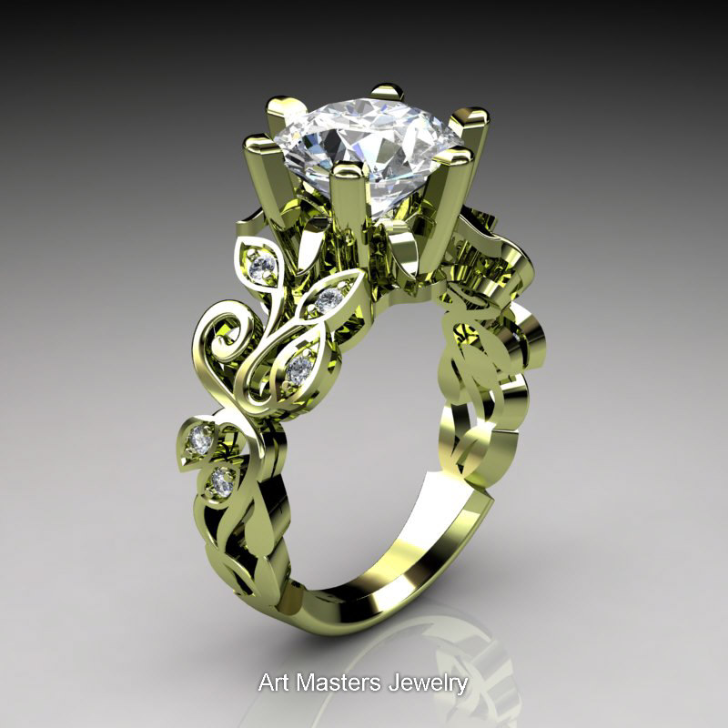 Nature Inspired 14K Green Gold 30 Ct White Sapphire