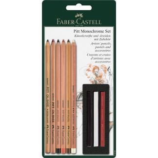 Набор пастельных карандашей Pitt Monochrome 9 предметов в блистере Faber-Castell