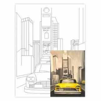 Полотно на картоне с контуром 30х40 см Города «Нью-Йорк» 4203 Rosa Talent