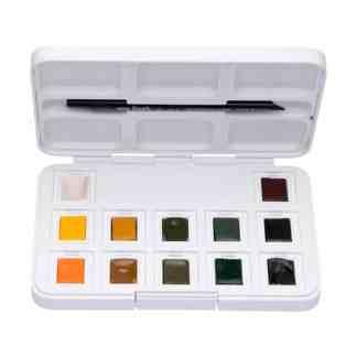 Набор акварельных красок Van Gogh 12 цветов кювета (с кистью) Shades of nature Pocket box Royal Talens