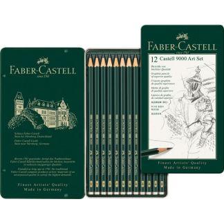 Набор чернографитных карандашей Castell 9000 12 штук 8B-2H в металлическом пенале Faber-Castell