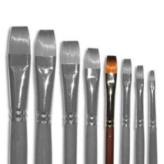 Кисточка «Живопись» 1112 Синтетика плоская № 08 длинная ручка рыжий ворс