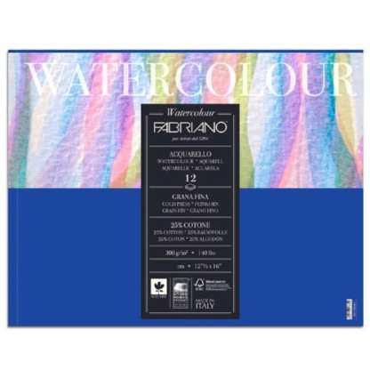 17313648 Альбом для акварели Watercolour 36х48 см 300 г/м.кв. 12 листов склейка Fabriano Италия