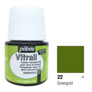 Краска по стеклу и металлу лаковая прозрачная Vitrail 022 Золотисто-зеленый 45 мл Pebeo