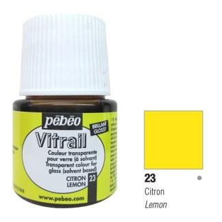 Краска по стеклу и металлу лаковая прозрачная Vitrail 023 Лимонный 45 мл Pebeo