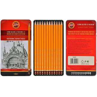 Набор чернографитных карандашей 8B-2H 12 штук в металлическом пенале 1502 Koh-i-Noor
