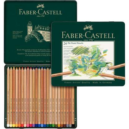 Набор пастельных карандашей Pitt 24 штуки в металлическом пенале Faber-Castell