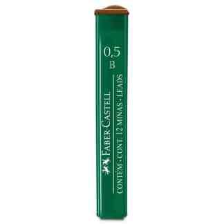 Грифель 0,5 мм B 12 штук в пенале Faber-Castell 9125