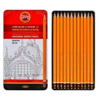 Набор чернографитных карандашей 5B-5H 12 штук в металлическом пенале 1502 Koh-i-Noor