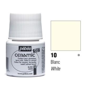 Краска-эмаль лаковая непрозрачная 010 Белый 45 мл Ceramic Pebeo