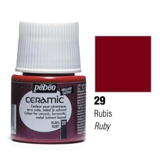 Краска-эмаль лаковая непрозрачная 029 Рубиновый 45 мл Ceramic Pebeo