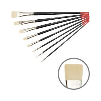 Кисточка «Kolos» Milk 1108F Синтетика плоская №04 длинная ручка белый ворс