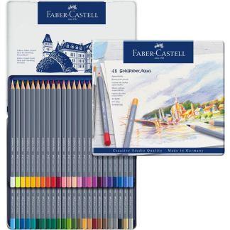 Набор акварельных карандашей Goldfaber Aqua 48 штук в металлическом пенале Faber-Castell