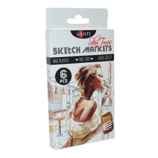 Набор маркеров «SANTI sketch» «Skin Tones», 6 шт/уп. 390568