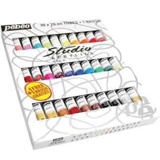 Набор акриловых красок Studio 30 цветов по 20 мл (с кистью) картонная коробка Pebeo