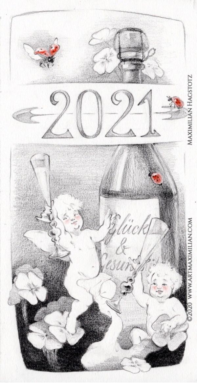 Neujahrskarte Kunst Maximilian Hagstotz Zeichnung Grafik Kunst Neu 2021 Engel Sekt Glück Zufriedenheit besoffen sein