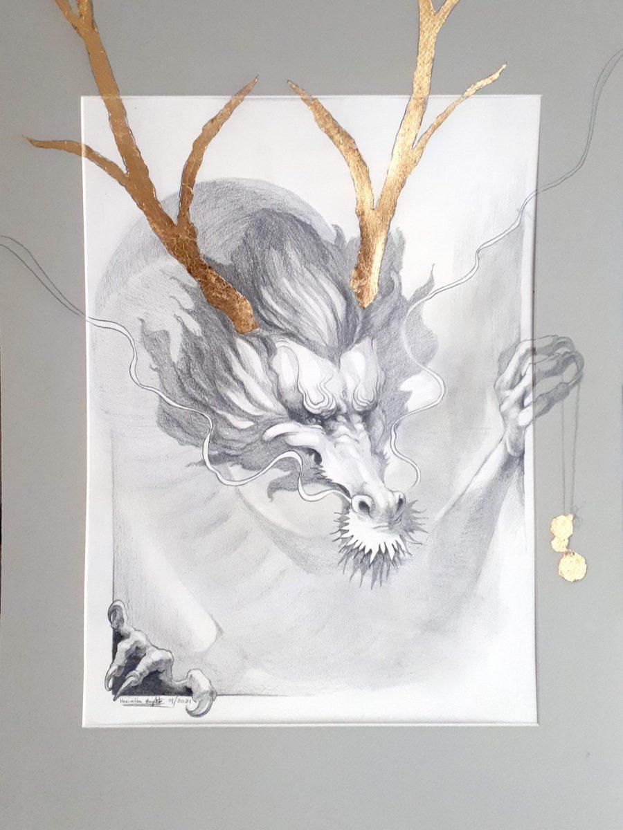 Drache China Ausdruck Ausbruch Neujahr goldenes Geweih Zeichnung Glück Geschenk Idee Mann Frau