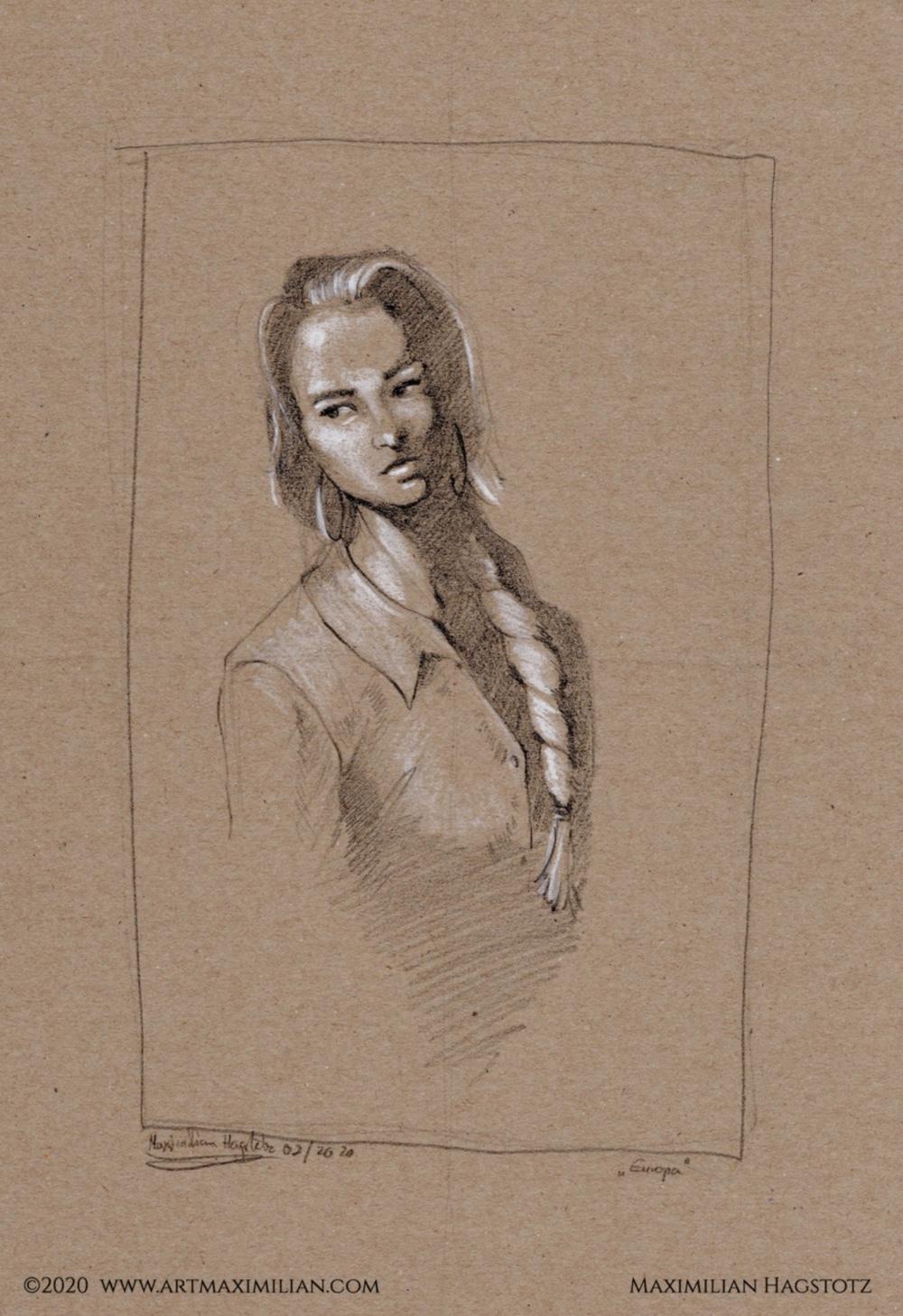 Zeichnung Grafik Kunst Maximilian Hagstotz Afrika Frau Porträt weiß Ohrringe Ausdruck Charakter set Geschenkidee Europa Zopf