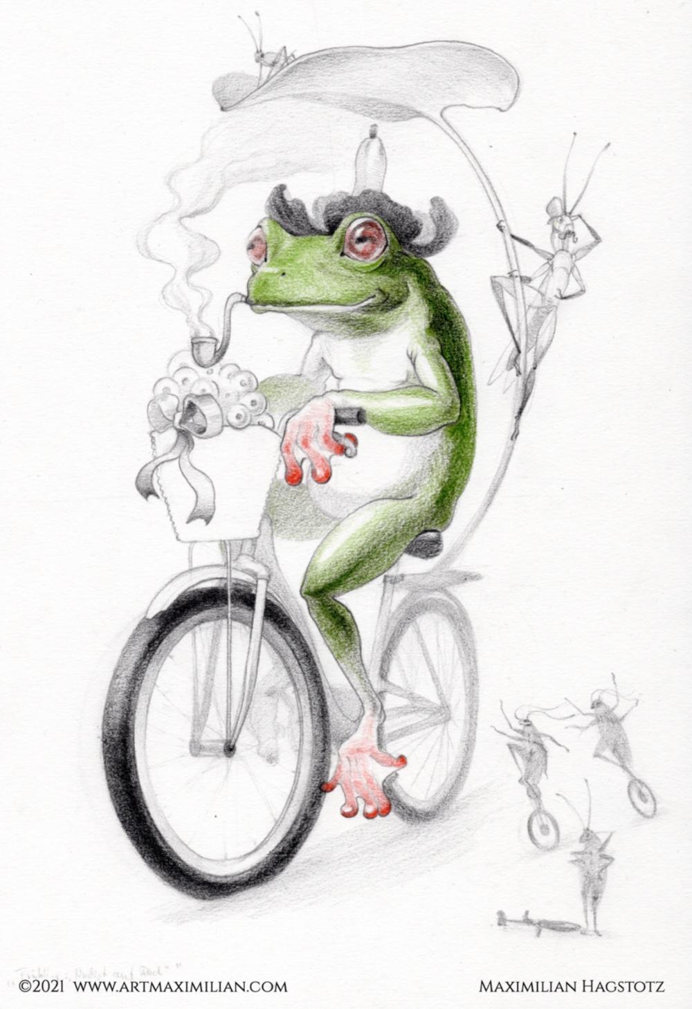 Frühlingsbote Maximilian Hagstotz Zeichnung Grafik grün rot Bleistift Geschenk positiv neu lustig Frosch gleich Eier Pfeife Grashüpfer kakalaken hut Blume schleife Fahrrad Jahreszeiten Gefühle