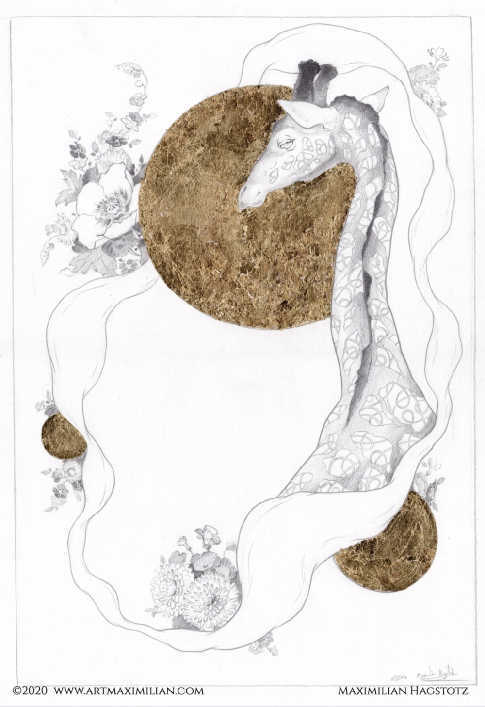 Zeichnung Grafik Neu Bleistift Gold Unikat Maximilian Hagstotz Blumen sonne Afrika Big five 5 Giraffe Muster ornament