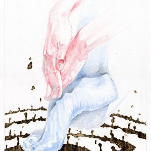 Paradigmenwechsel Weltanschauung verdrehte Realität rot Blau heiß kalt Maximilian Hagstotz Kunstwerk Grafik Gold Hände und Füße Geschenk Idee Mann Frau Präzis Ausstellung Wandkunst dekorieren Arzt neu individuell Unikat