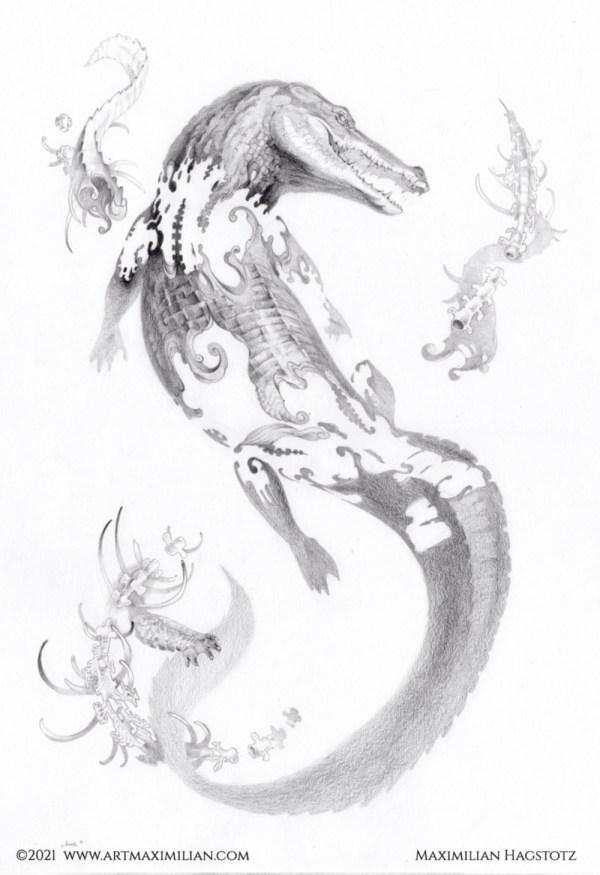Krok Krokodil zerfetzt Knochen Opulent individuell fantasievoll Maximilian Hagstotz Kunstwerk Zähne Leder haut