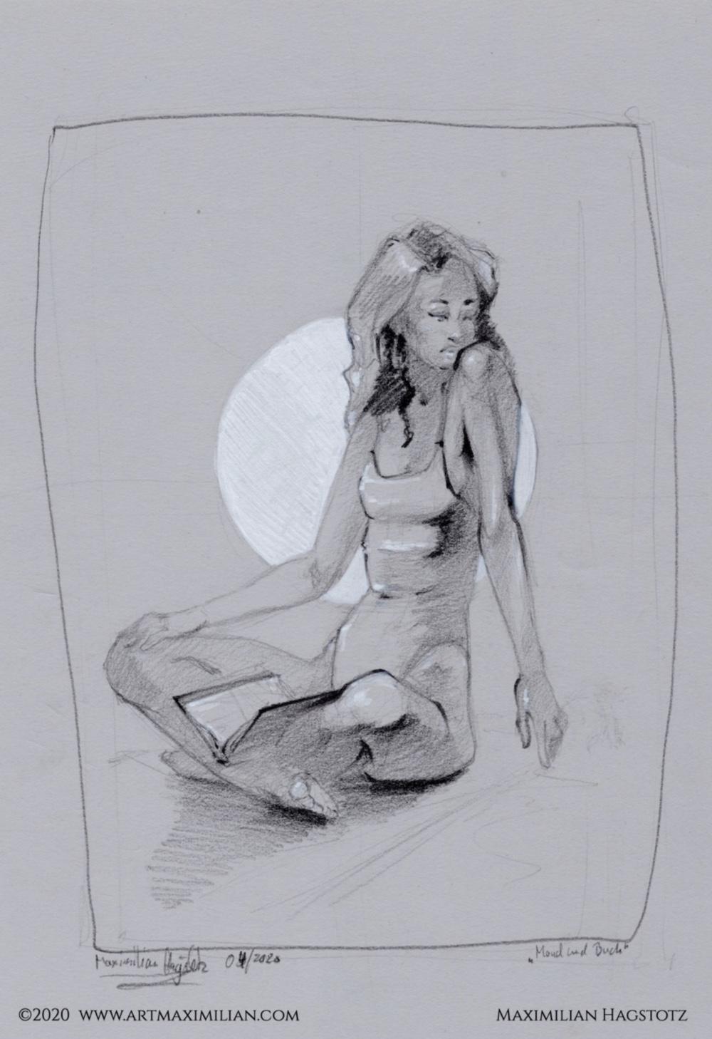 Akt Mond Buch Zeichnung Kunst Max art