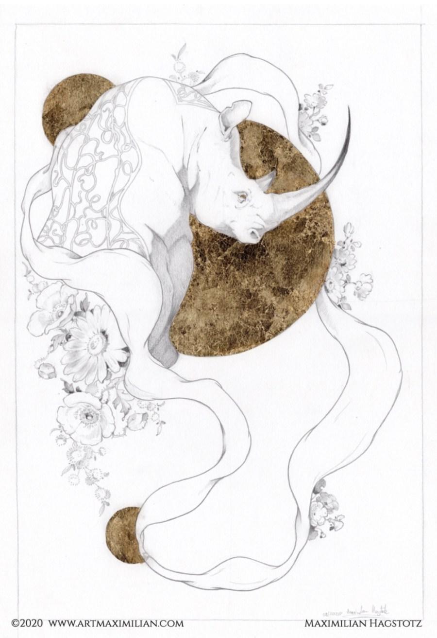 Zeichnung Grafik Neu Bleistift Gold Unikat Maximilian Hagstotz Blumen sonne Afrika Big five 5 Rhino horn Stoßzähne