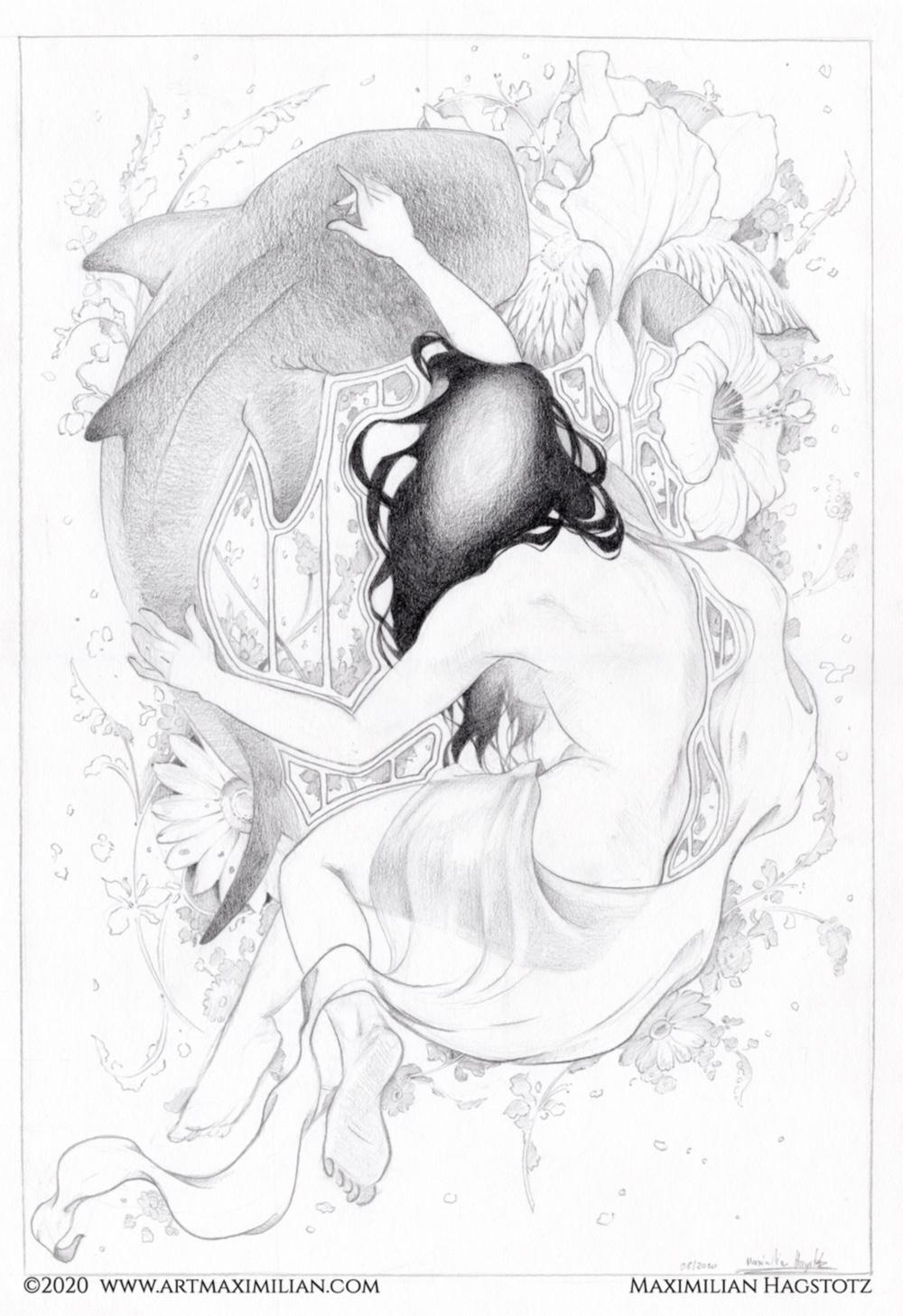 Grafik Kunst Zeichnung Maximilian Hagstotz Traum Kolibri artnoveau Tuch opulent Blumen Bukett Frau Tanzend neu schön viel Geschenkidee Mann Frau Tiere Vögel illustration Deko wandkunst Wallart Walhai