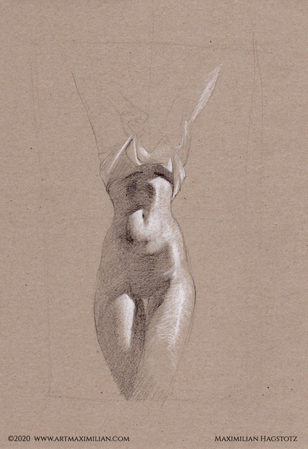 Akt sitzend wie fühlst du dich Maximilian Hagstotz Neu Grafik Zeichnung Licht Schatten sexy sinnlich lange haare Studie