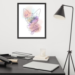 Abstract Line Art Watercolor Cat Portrait Framed Wall Art