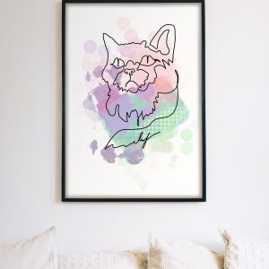 Need a little furry vibe added to your room? You definitely need a cat... or at least a portrait! Enjoy that vibrant artistic vibe by just adding one cute accent!