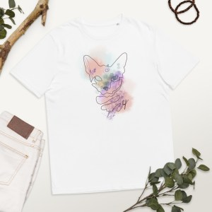One Line Abstract Art Cat Portrait Short-Sleeve Unisex Organic Cotton T-shirt   #4