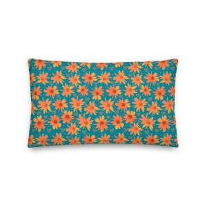 Orange Coreopsis Daisy Floral Patterned Throw Pillow with Hearts
