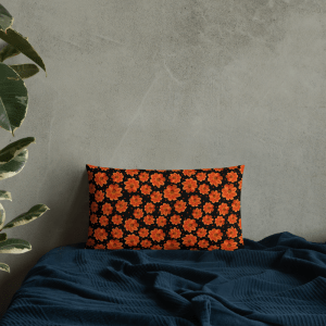 Orange Zinnia Garden Flower on Black Patterned Throw Pillow with Polka Dots